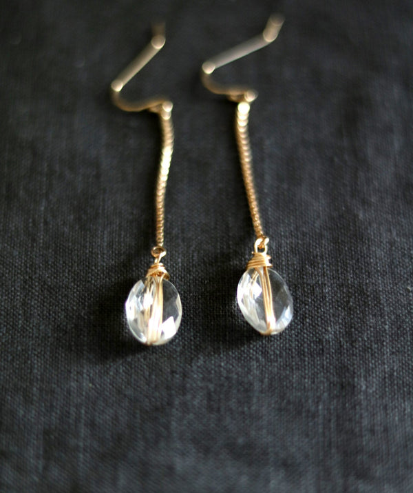 Orbital earrings - Crystal quartz