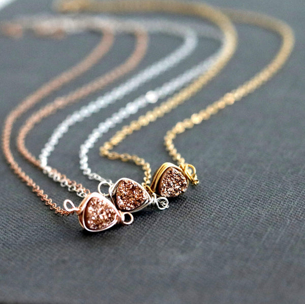 As seen on Bloodline Netflix show - Rosegold Trillion Druzy Necklace