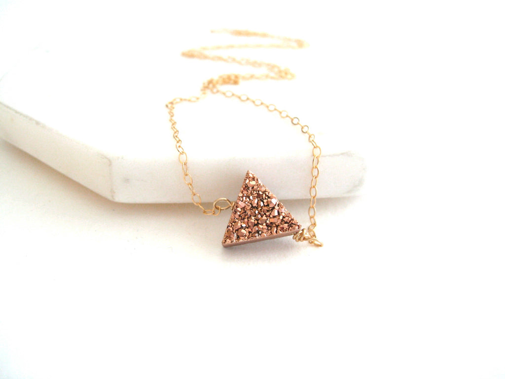 As seen on Pretty Little Liars Rose gold Triangle choker