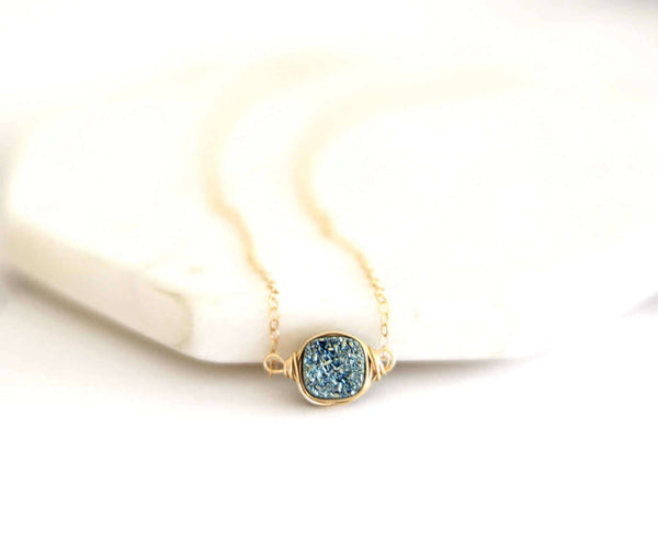 As seen on Stitchers - Aqua Druzy Necklace