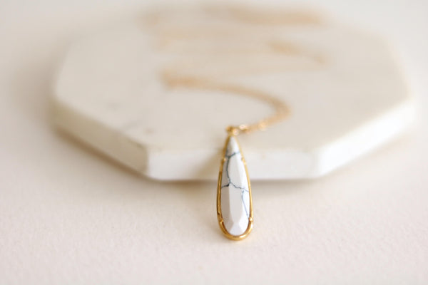 White Marble teardrop necklace 14K goldfilled