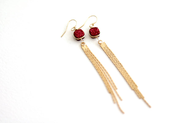Red druzy Long Gold Tassel Earrings