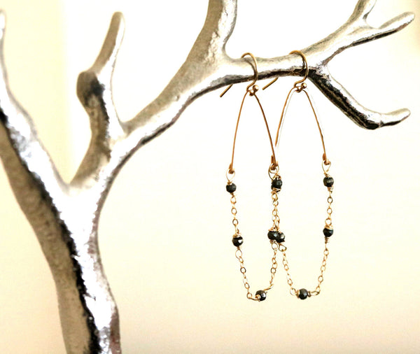 As seen on Fuller House, Modern Hoop earrings Pyrite and gold earrings, tourmaline, peruvian opal