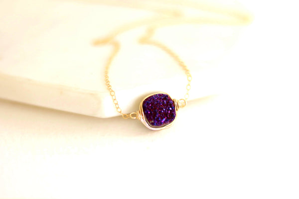 Royal Purple Square Druzy Necklace