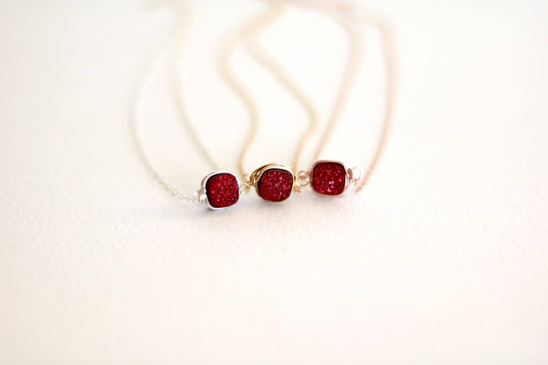 Square Red Druzy Necklace
