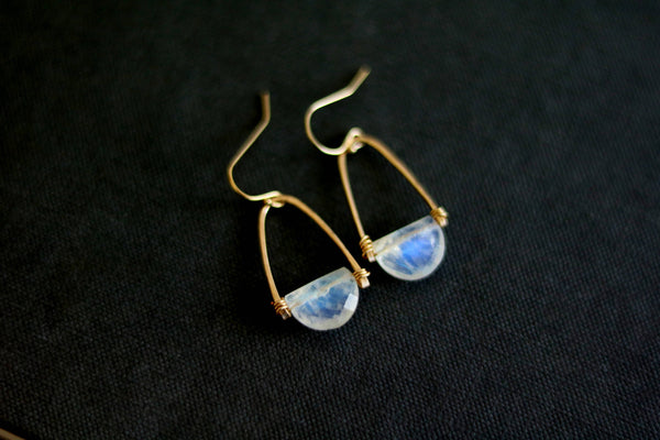 Rockpool earrings - White Moonstone earrings