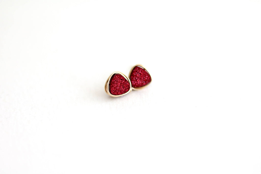 Deep red Druzy Trillion Studs