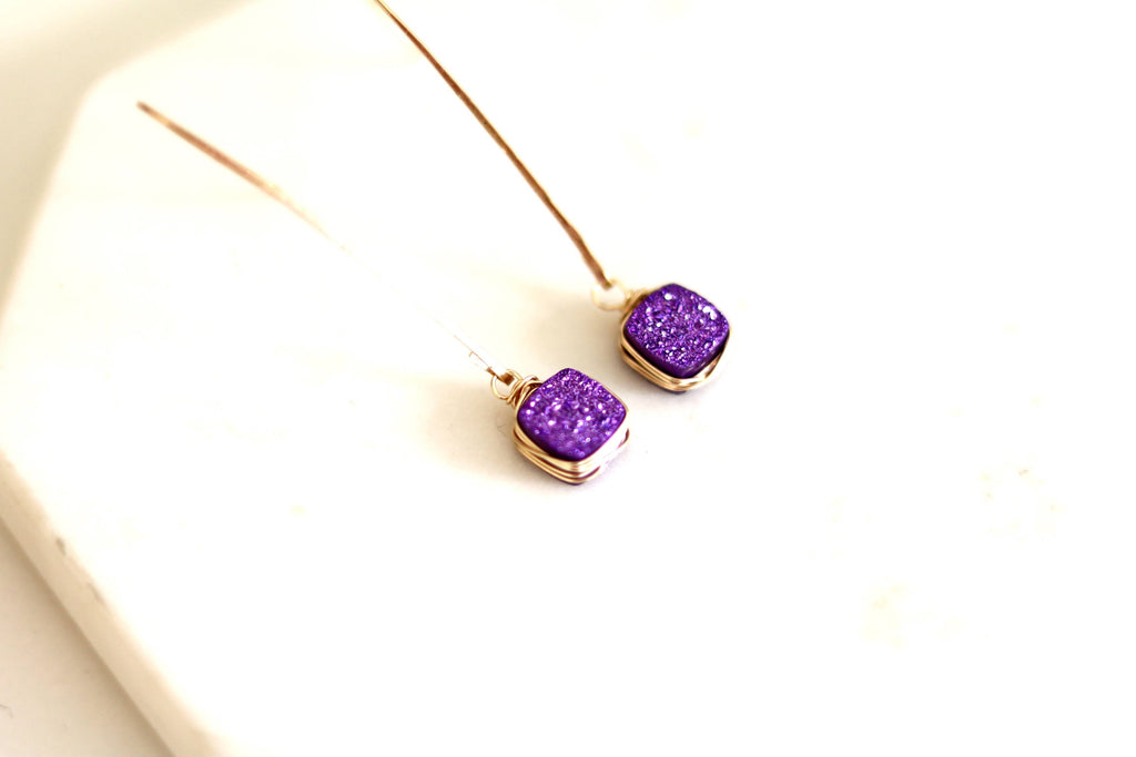 Square Ultraviolet Purple Druzy Earrings Hammered Gold