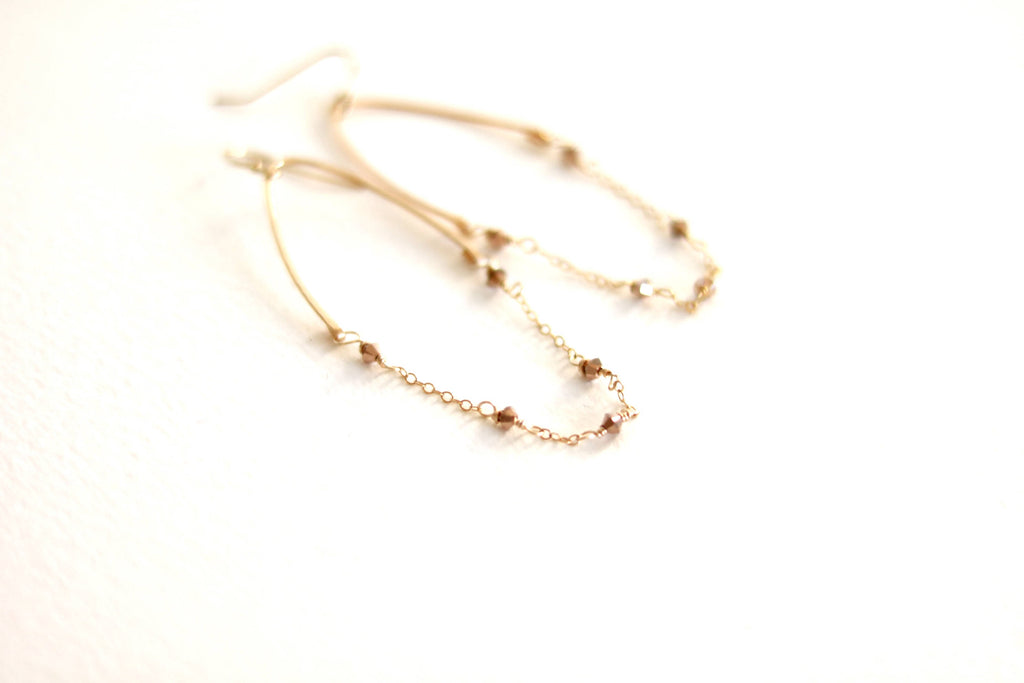 Glide earrings rose gold Swarovski crystals