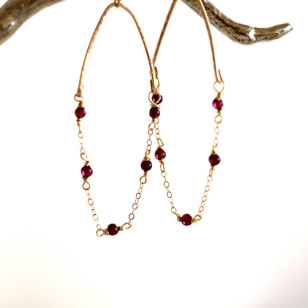 Glide Hoop earrings - Red garnet