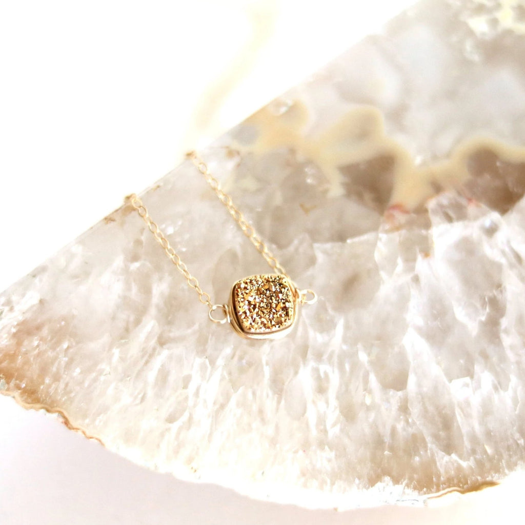 24K Gold Square Druzy Pendant Necklace