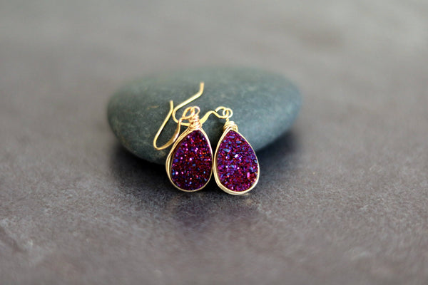 Royal Purple Druzy teardrop earrings