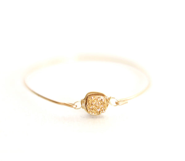 24Karat Gold square Druzy Bangle