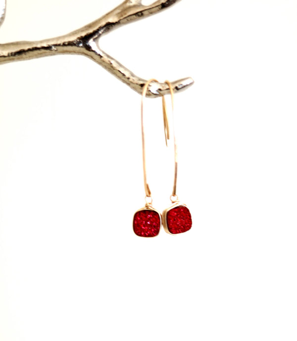 Hammered Gold and Red Druzy Earrings