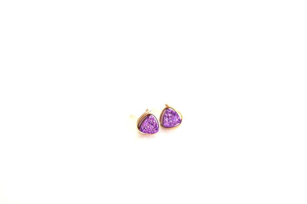 Ultraviolet Purple Trillion Druzy Studs