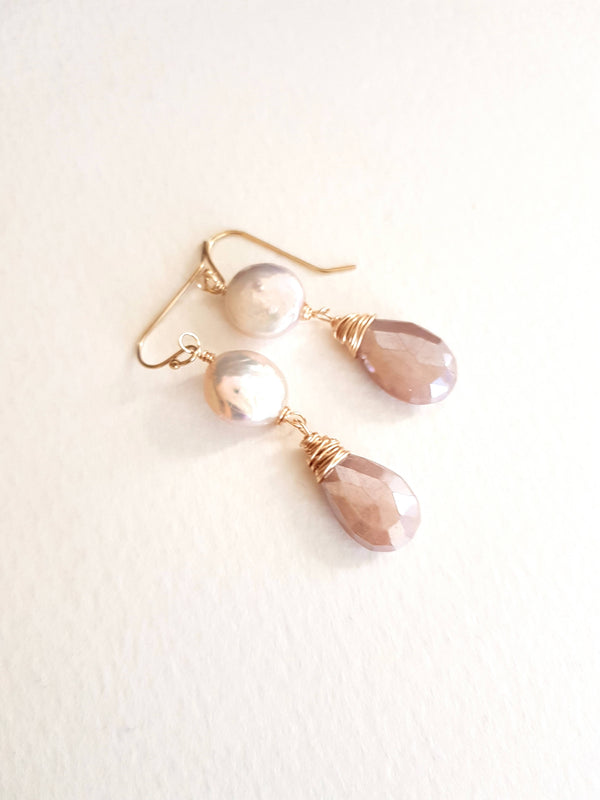 Blush Earrings Moonstone and Pearl