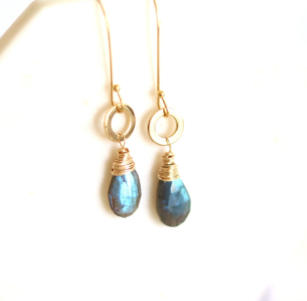 As seen on The Americans - Labradorite teardrop earrings