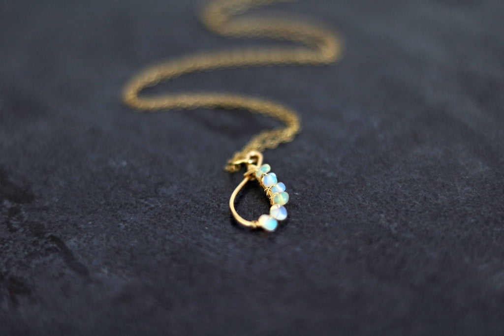 Ethiopian Opal Teardrop Pendant Necklace