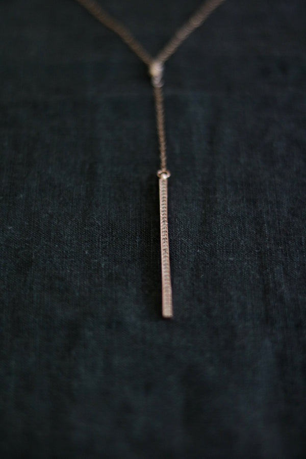 CZ Pave Rose gold Bar Necklace