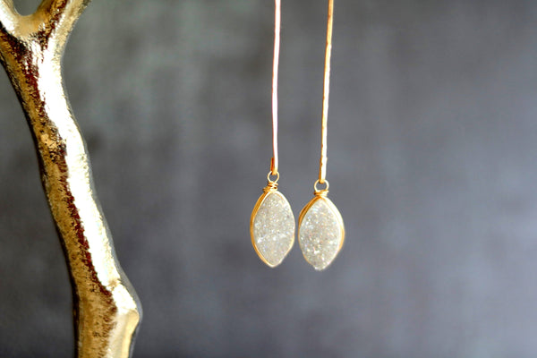Linear White Druzy Marquise Earrings