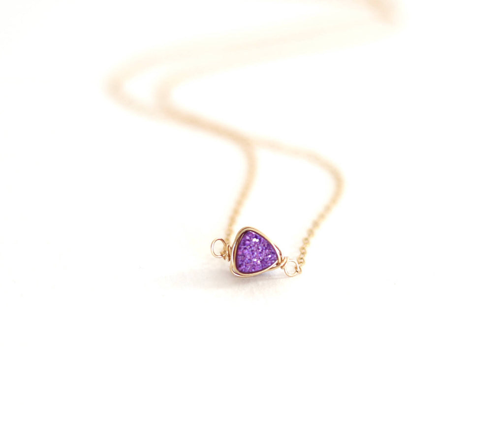Ultraviolet Purple Trillion Druzy necklace