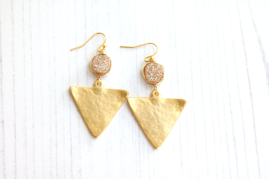 Statement Gold Triangle Champagne Druzy earrings