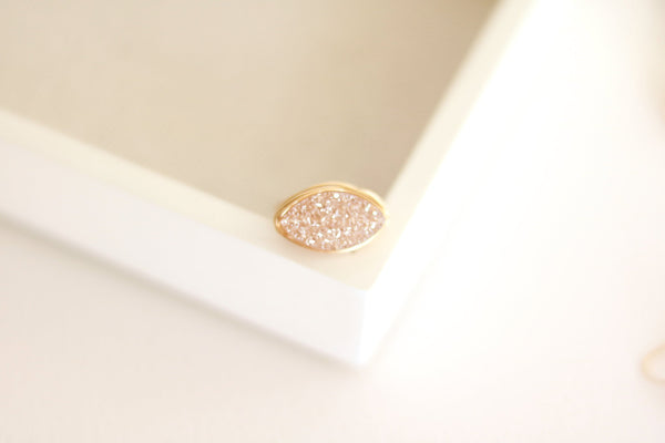 Marquise Champagne druzy ring