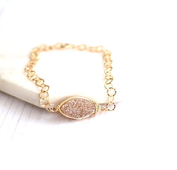 Champagne Druzy adjustable gold Bracelet