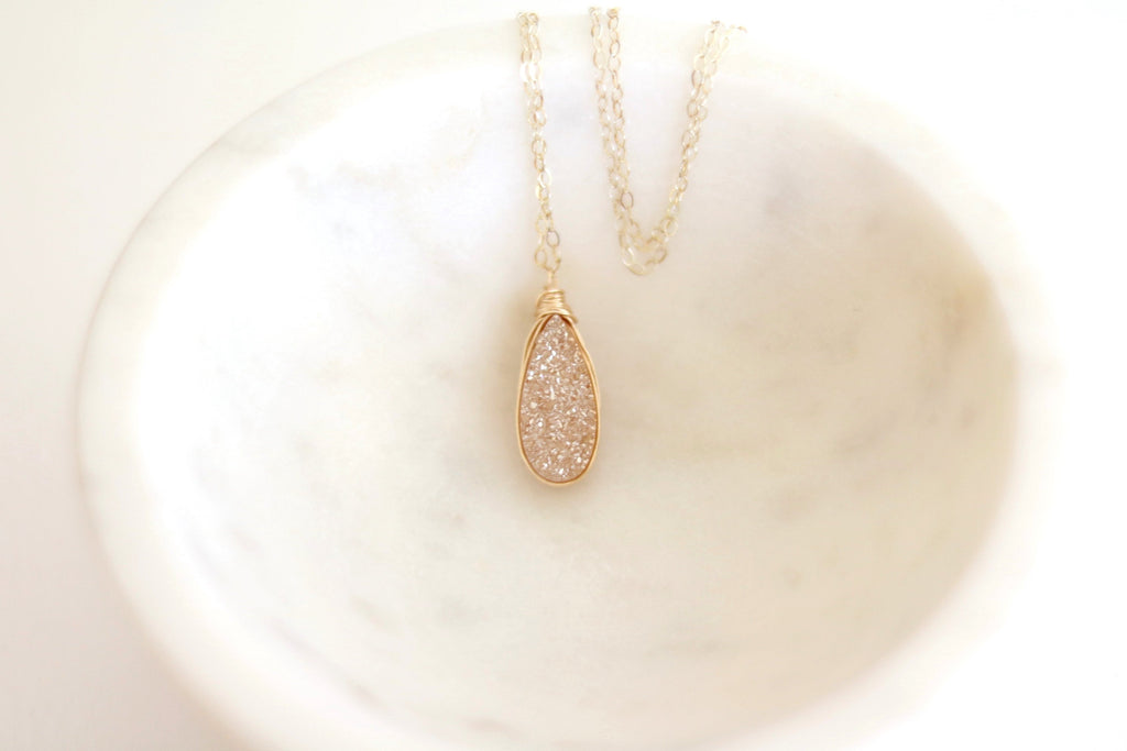 Champagne Druzy Teardrop Necklace