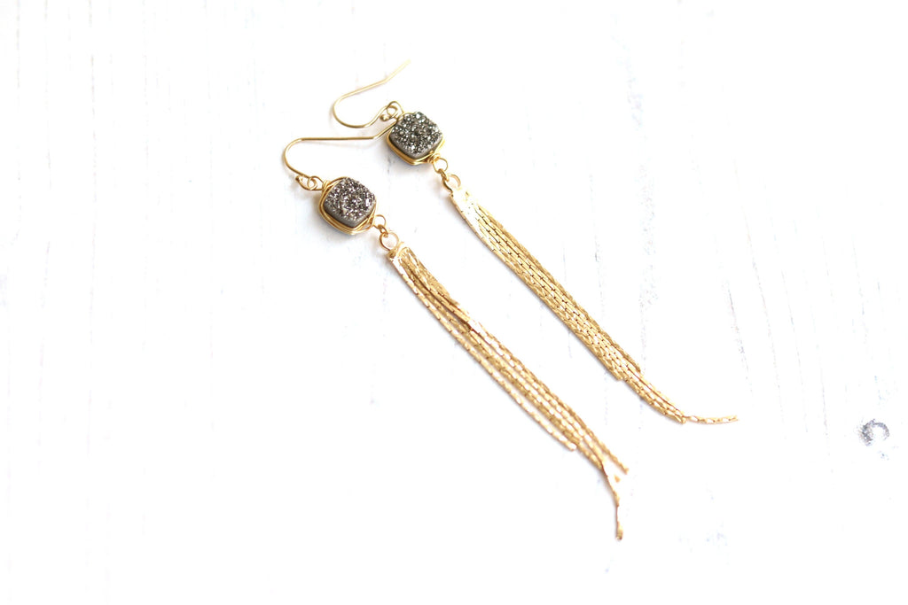 Silver Druzy Fringe earrings
