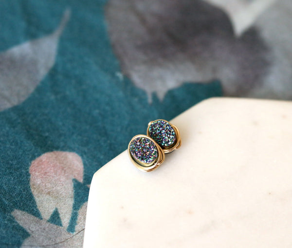 Peacock green Oval Studs