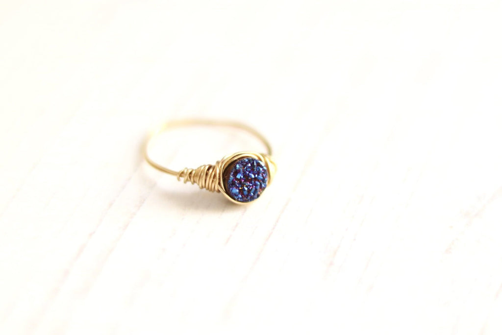 Round Midnight blue druzy ring