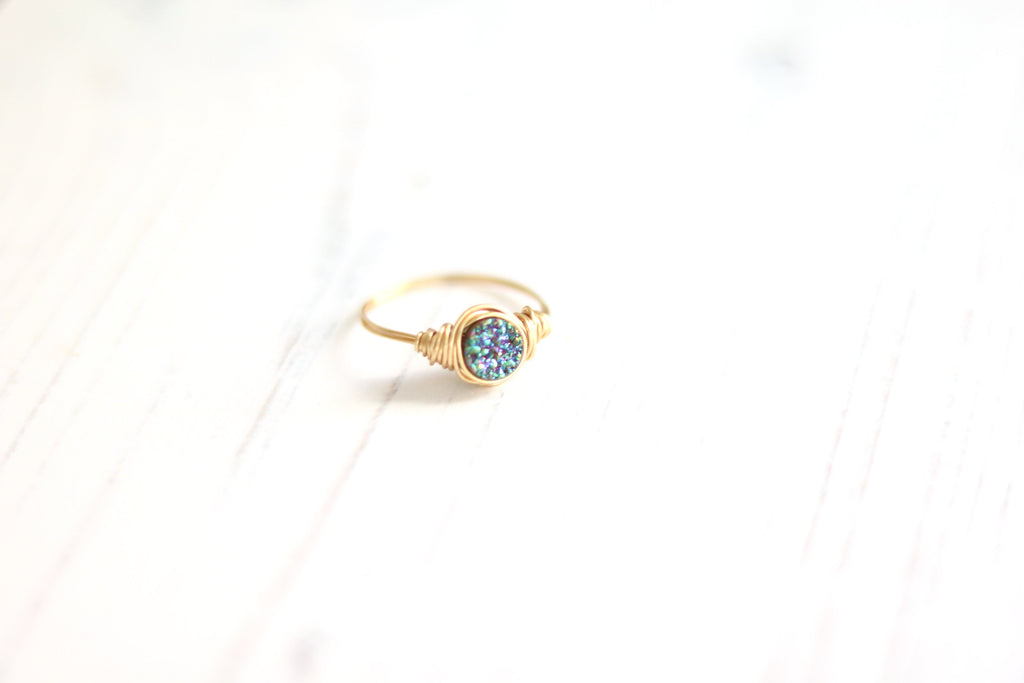 Peacock green druzy round ring