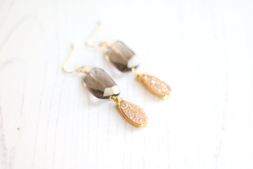 Smoky quartz and Champagne Druzy Earrings