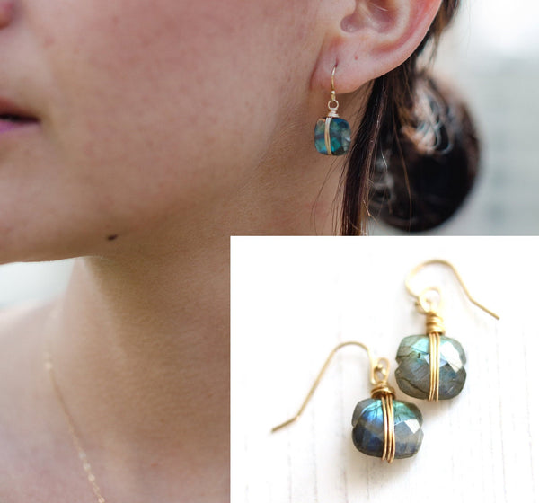 As Seen on Madam Secretary Labradorite dangle earrings