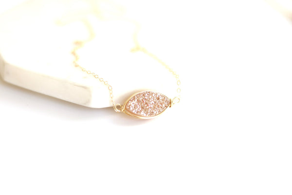 Marquise Champagne Druzy necklace