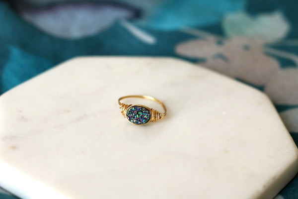 Peacock green Oval druzy ring