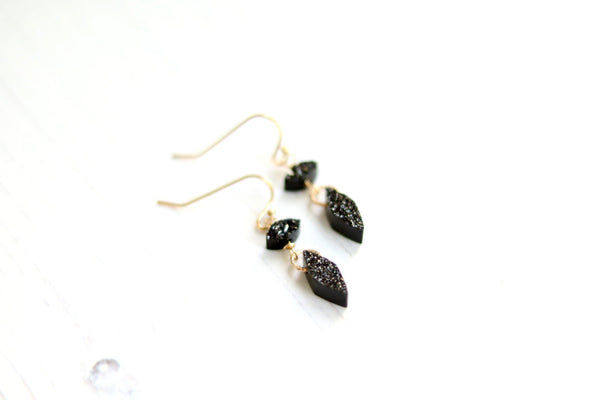 Double Tier Black Druzy earrings