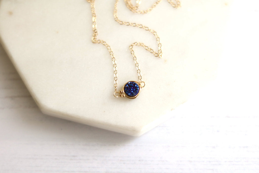 Round Midnight blue Druzy choker