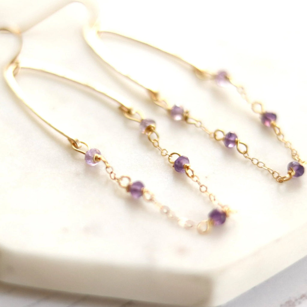 Glide Purple Amethyst Hoop Earrings