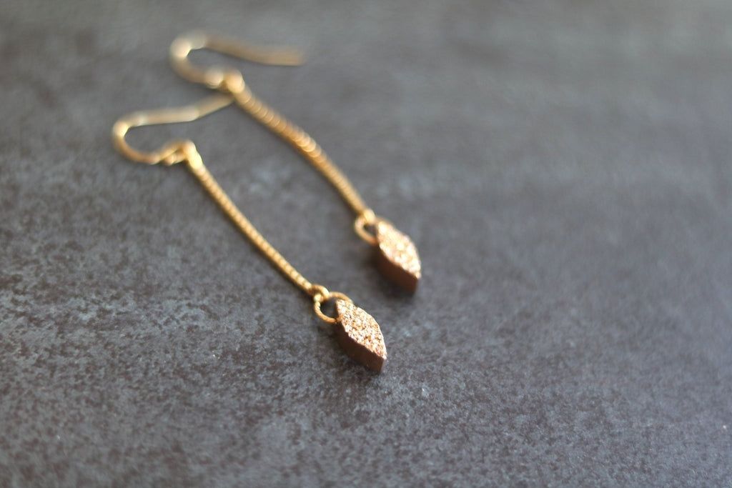 Kite Rose gold druzy linear earrings