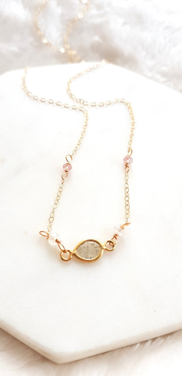 Diamond slice necklace 14K goldfilled