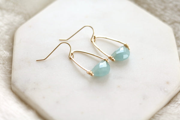 Rockpool earrings - Aquamarine gemstone
