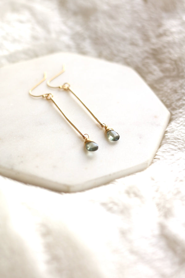 Blue Aquamarine Stick earrings
