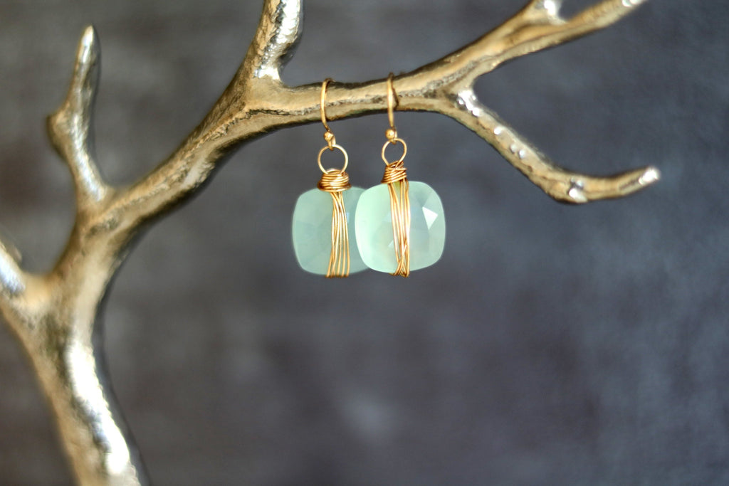 Aqua Chalcedony dangle earrings ISLA