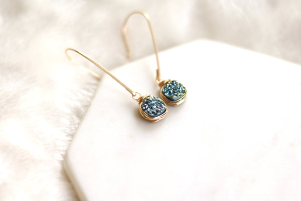 Aqua Teal Druzy earrings hammered gold