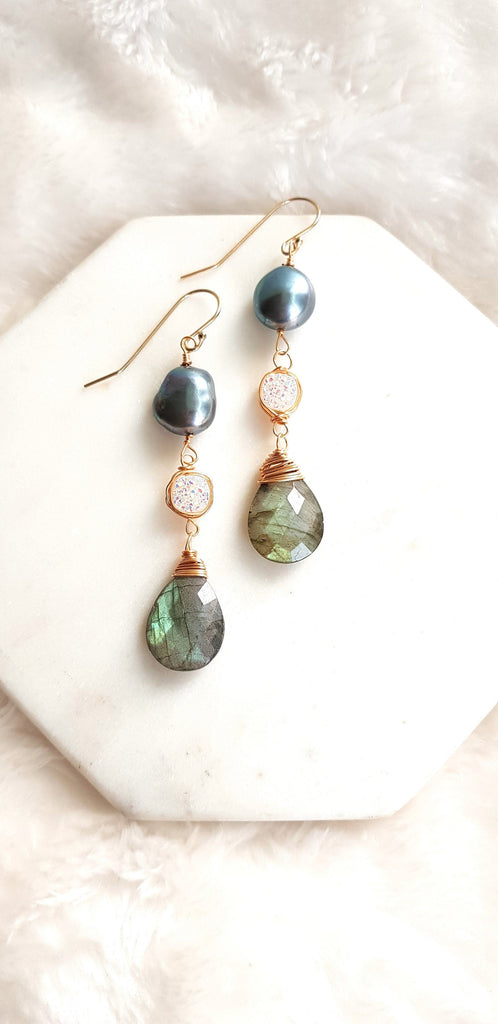 Labradorite + black pearl + druzy earrings