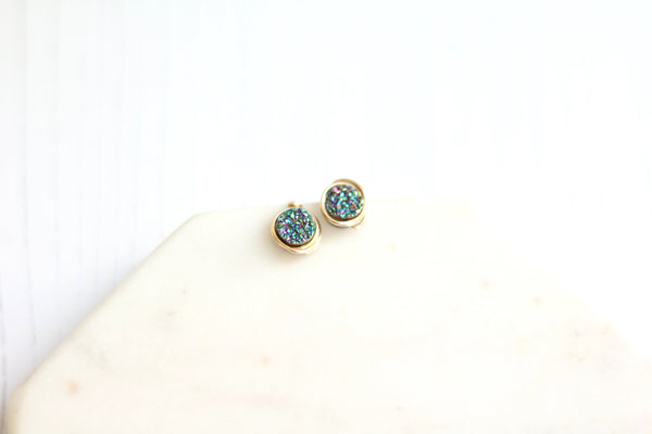 Round Druzy earrings -  Enchanted Peacock green