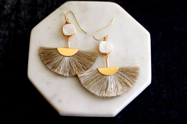 Cream Druzy tassel earrings