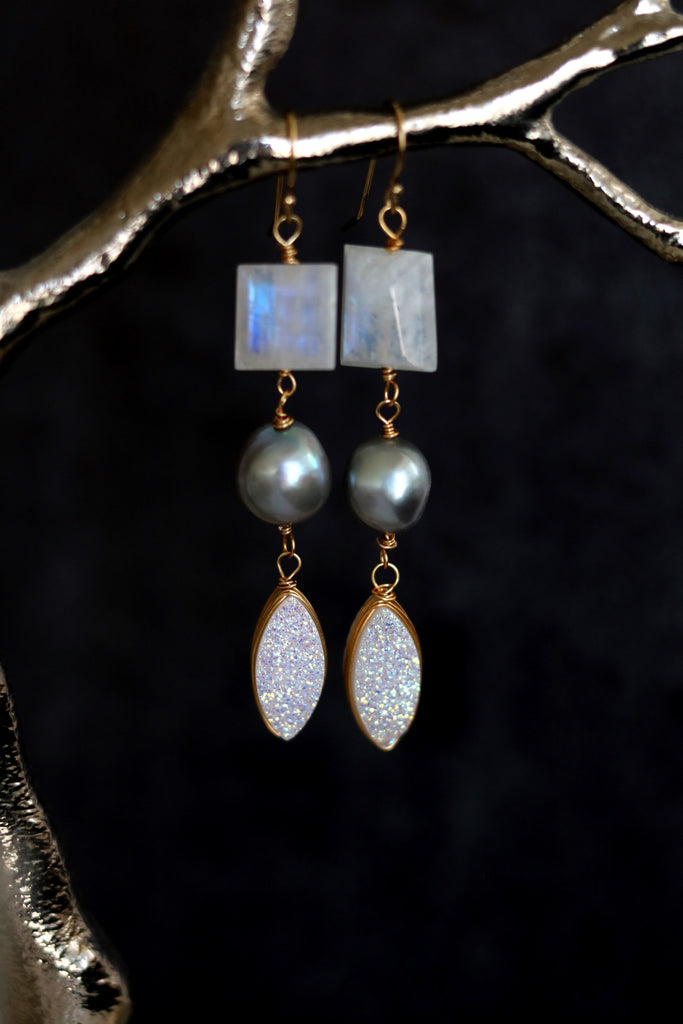 Statement moonstone pearl druzy earrings